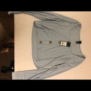 Air blue button up long sleeve t shirt